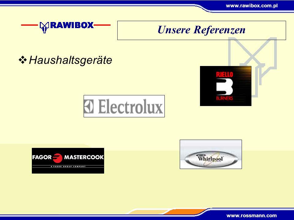 www.rawibox.com.pl www.rossmann.com Elektronik Autoindustrie Unsere Referenzen