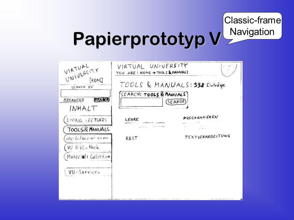 Papierprototyp V Classic-frame Navigation