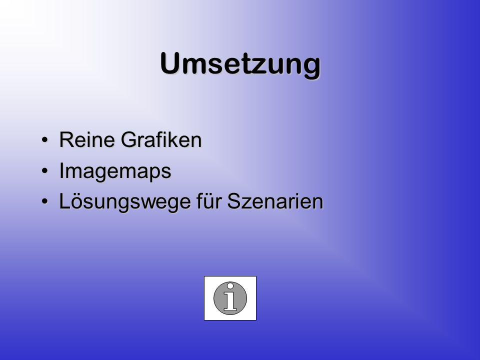 Umsetzung Reine GrafikenReine Grafiken ImagemapsImagemaps Lösungswege für SzenarienLösungswege für Szenarien