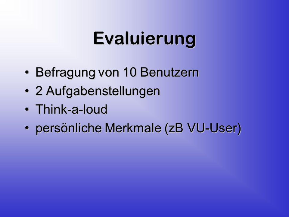 Evaluierung Befragung von 10 BenutzernBefragung von 10 Benutzern 2 Aufgabenstellungen2 Aufgabenstellungen Think-a-loudThink-a-loud persönliche Merkmale (zB VU-User)persönliche Merkmale (zB VU-User)
