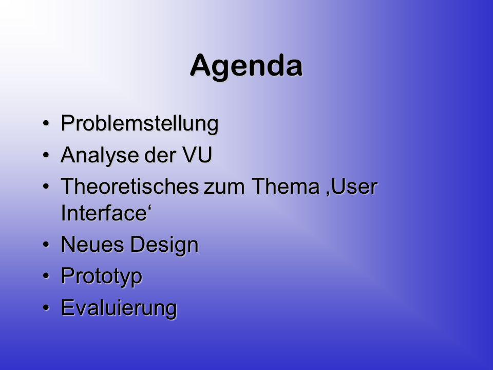 Agenda ProblemstellungProblemstellung Analyse der VUAnalyse der VU Theoretisches zum Thema User InterfaceTheoretisches zum Thema User Interface Neues DesignNeues Design PrototypPrototyp EvaluierungEvaluierung