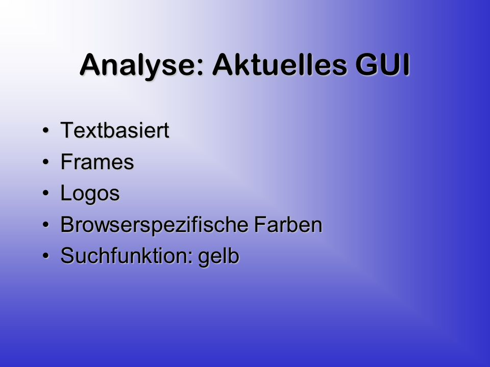 Analyse: Benutzer Information- User Information- Provider Librariens Server- Administrator LV-Teilnehmer Autoren wissenschaftl.