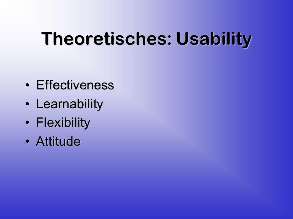 Theoretisches: Usability EffectivenessEffectiveness LearnabilityLearnability FlexibilityFlexibility AttitudeAttitude