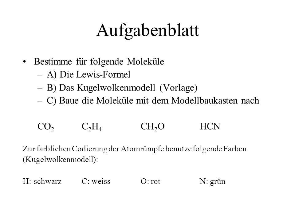 Aufgabenblatt Bestimme für folgende Moleküle –A) Die Lewis-Formel –B) Das Kugelwolkenmodell (Vorlage) –C) Baue die Moleküle mit dem Modellbaukasten na