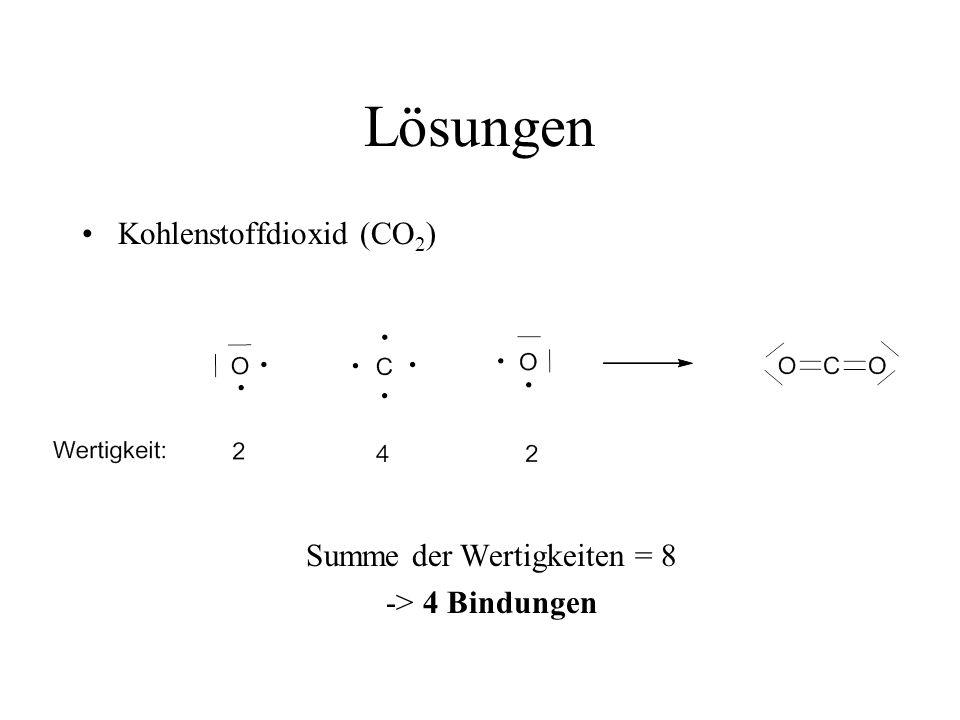 Lösungen Kohlenstoffdioxid (CO 2 ) Summe der Wertigkeiten = 8 -> 4 Bindungen
