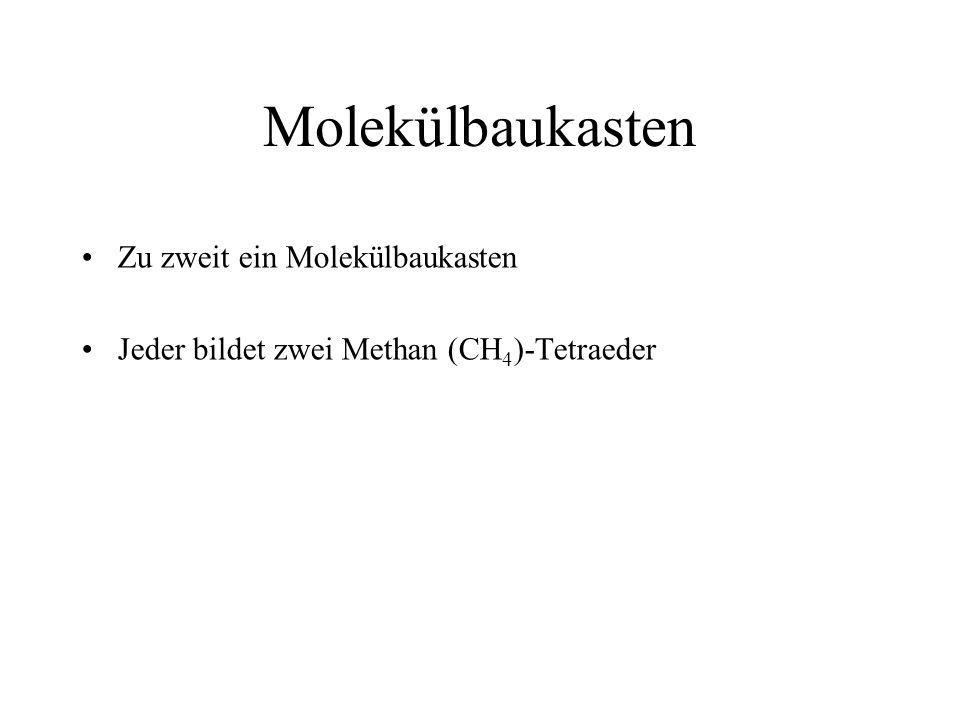 Molekülbaukasten Zu zweit ein Molekülbaukasten Jeder bildet zwei Methan (CH 4 )-Tetraeder