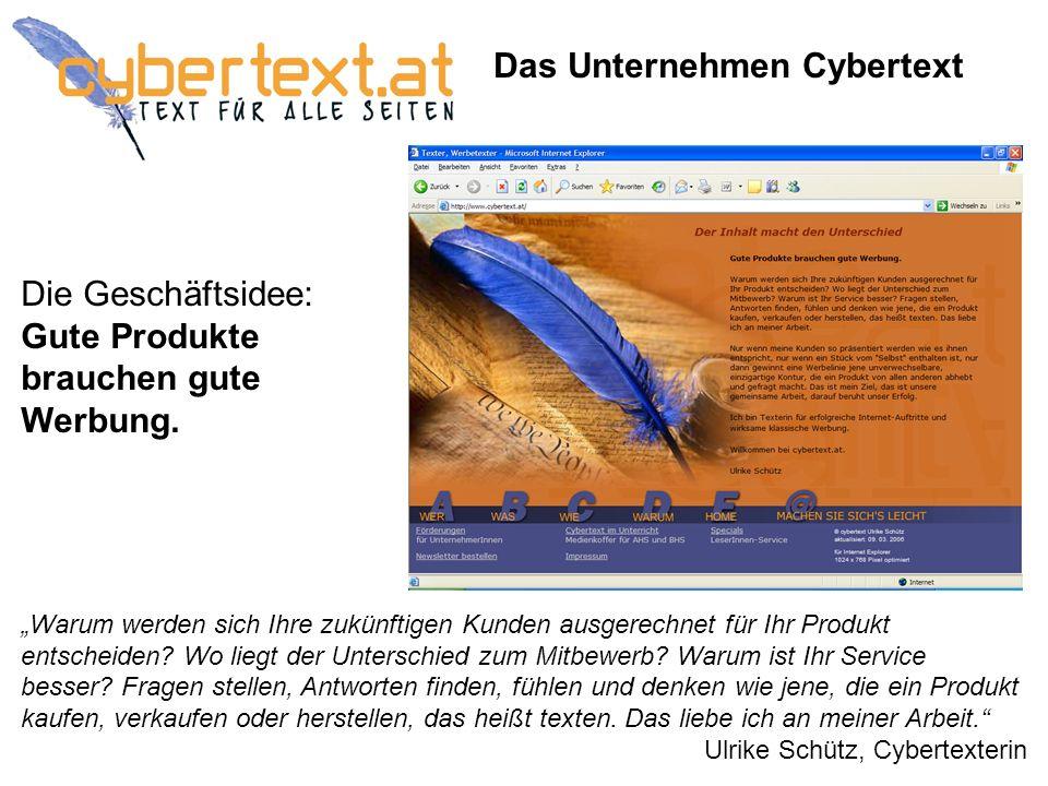 Das Unternehmen Cybertext Die Geschäftsidee: Gute Produkte brauchen gute Werbung.