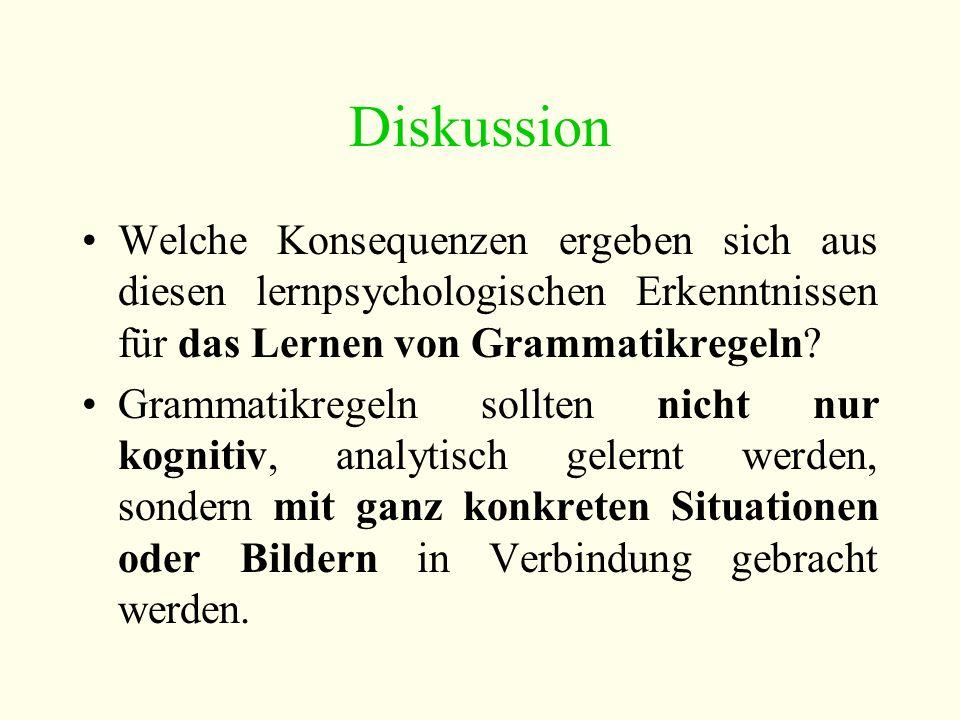 Diskussion Welche Konsequenzen ergeben sich aus diesen lernpsychologischen Erkenntnissen für das Lernen von Grammatikregeln.