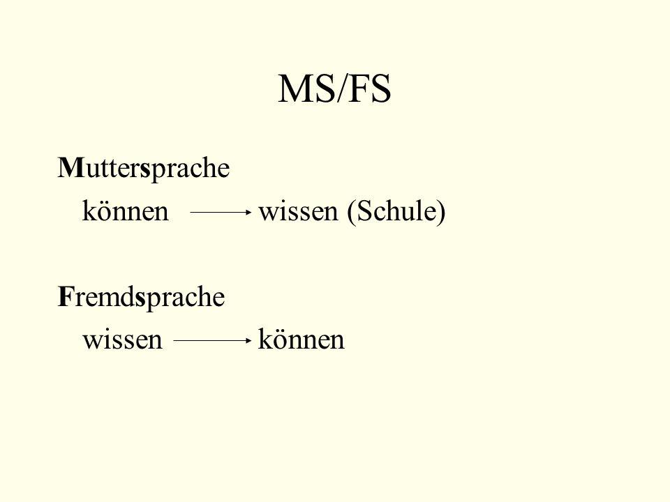 MS/FS Muttersprache könnenwissen (Schule) Fremdsprache wissenkönnen