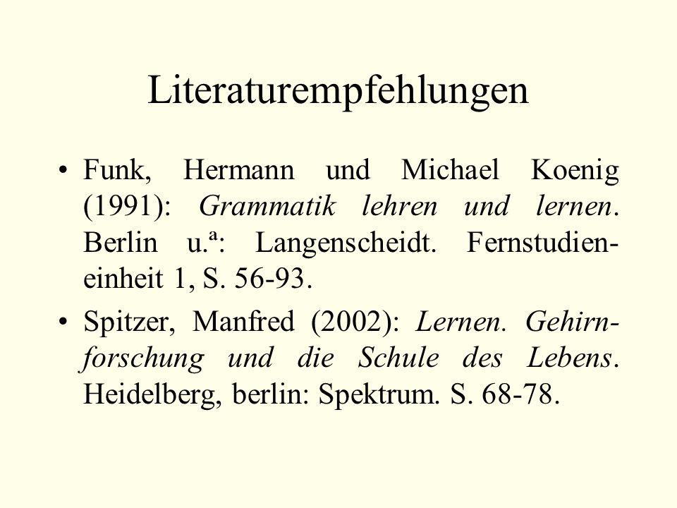 Literaturempfehlungen Funk, Hermann und Michael Koenig (1991): Grammatik lehren und lernen.