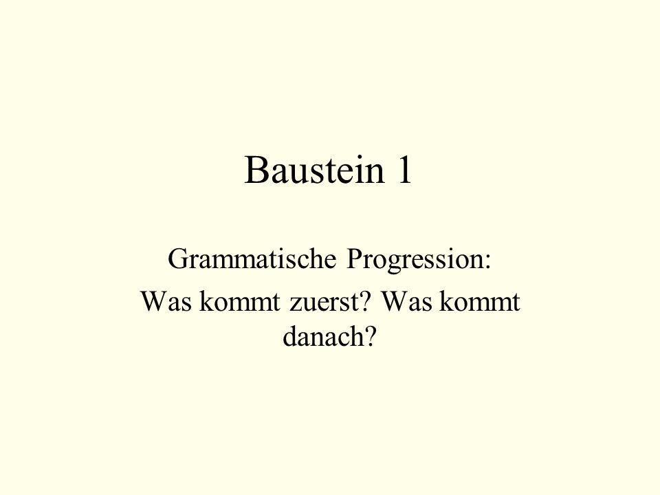 Baustein 1 Grammatische Progression: Was kommt zuerst? Was kommt danach?