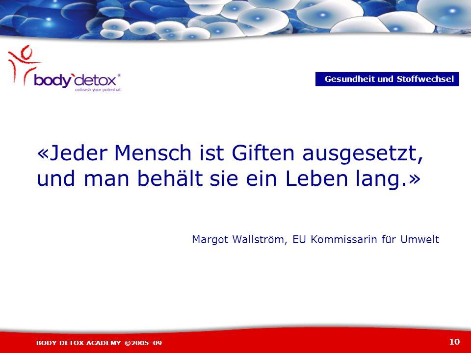 10 BODY DETOX ACADEMY ©2005–09 «Jeder Mensch ist Giften ausgesetzt, und man behält sie ein Leben lang.» Margot Wallström, EU Kommissarin für Umwelt Ge