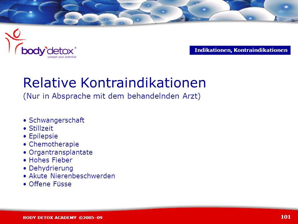 101 BODY DETOX ACADEMY ©2005–09 Schwangerschaft Stillzeit Epilepsie Chemotherapie Organtransplantate Hohes Fieber Dehydrierung Akute Nierenbeschwerden