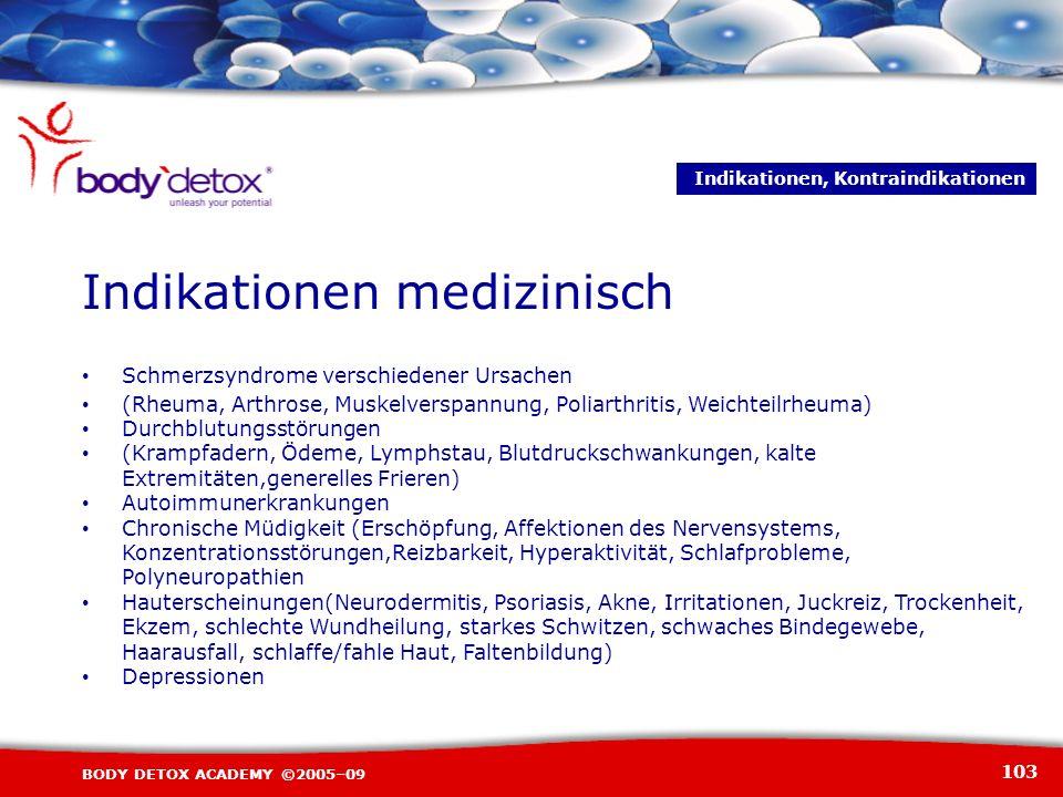 103 BODY DETOX ACADEMY ©2005–09 Schmerzsyndrome verschiedener Ursachen (Rheuma, Arthrose, Muskelverspannung, Poliarthritis, Weichteilrheuma) Durchblut