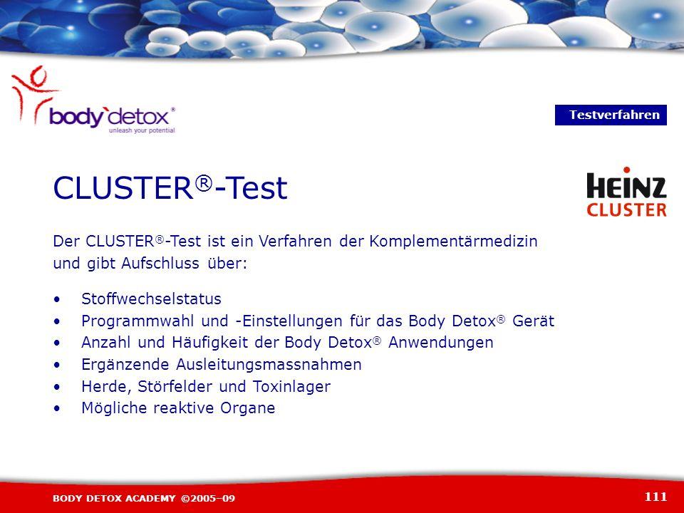 111 BODY DETOX ACADEMY ©2005–09 Der CLUSTER ® -Test ist ein Verfahren der Komplementärmedizin und gibt Aufschluss über: Stoffwechselstatus Programmwah
