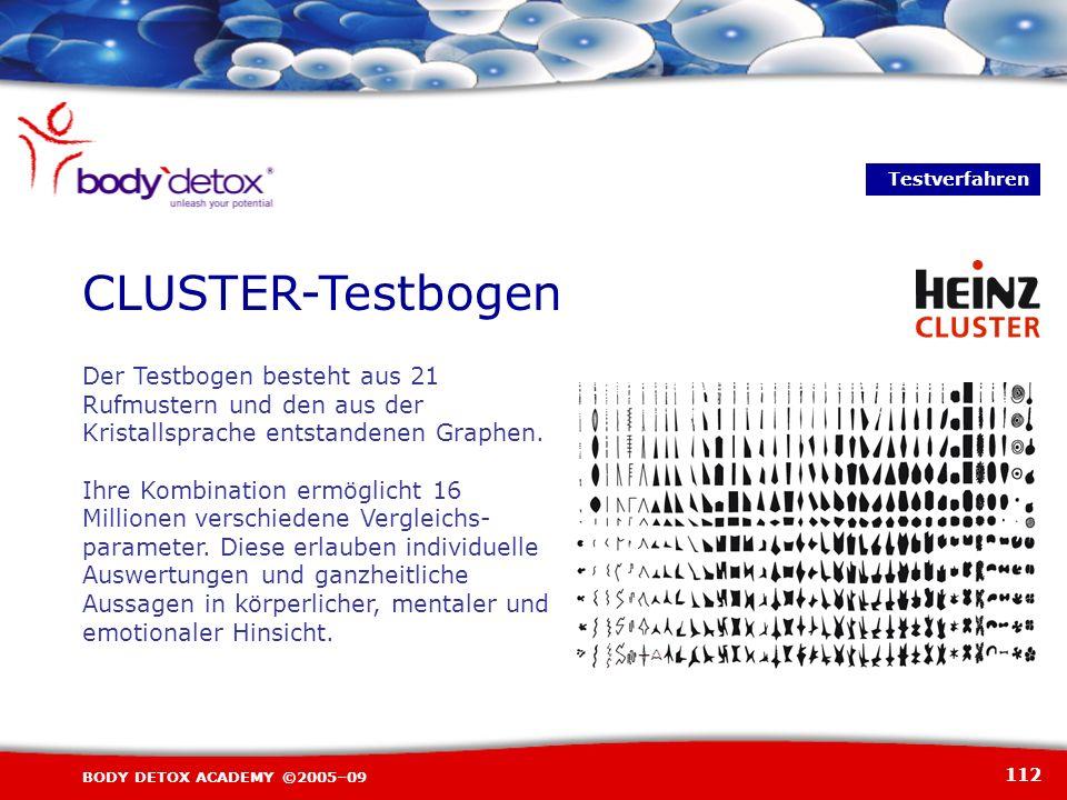 112 BODY DETOX ACADEMY ©2005–09 CLUSTER-Testbogen Der Testbogen besteht aus 21 Rufmustern und den aus der Kristallsprache entstandenen Graphen. Ihre K