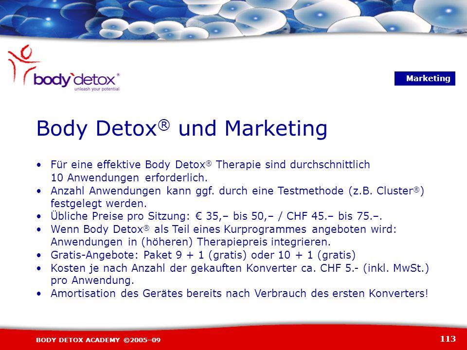113 BODY DETOX ACADEMY ©2005–09 Für eine effektive Body Detox ® Therapie sind durchschnittlich 10 Anwendungen erforderlich. Anzahl Anwendungen kann gg