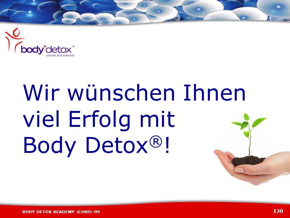 120 BODY DETOX ACADEMY ©2005–09 Wir wünschen Ihnen viel Erfolg mit Body Detox ® !