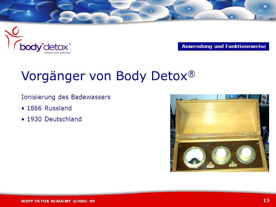 13 BODY DETOX ACADEMY ©2005–09 Ionisierung des Badewassers 1866 Russland 1930 Deutschland Vorgänger von Body Detox ® Anwendung und Funktionsweise