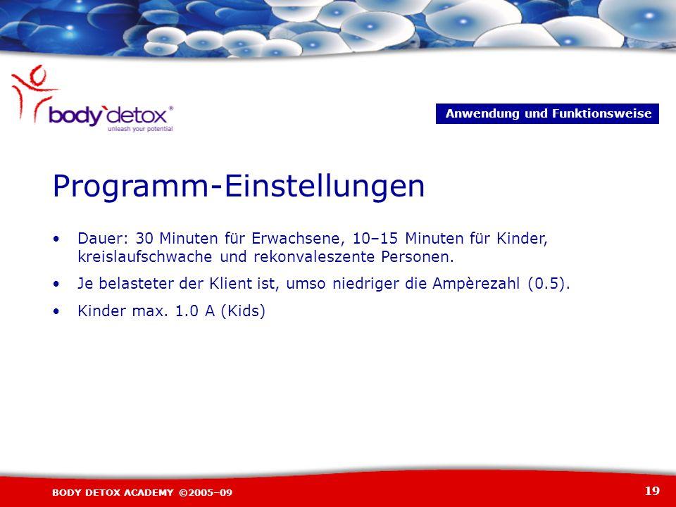 19 BODY DETOX ACADEMY ©2005–09 Programm-Einstellungen Dauer: 30 Minuten für Erwachsene, 10–15 Minuten für Kinder, kreislaufschwache und rekonvaleszent