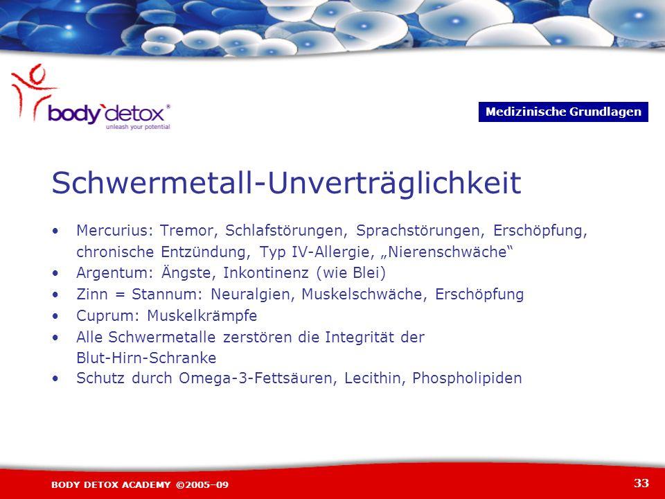 33 BODY DETOX ACADEMY ©2005–09 Schwermetall-Unverträglichkeit Mercurius: Tremor, Schlafstörungen, Sprachstörungen, Erschöpfung, chronische Entzündung,