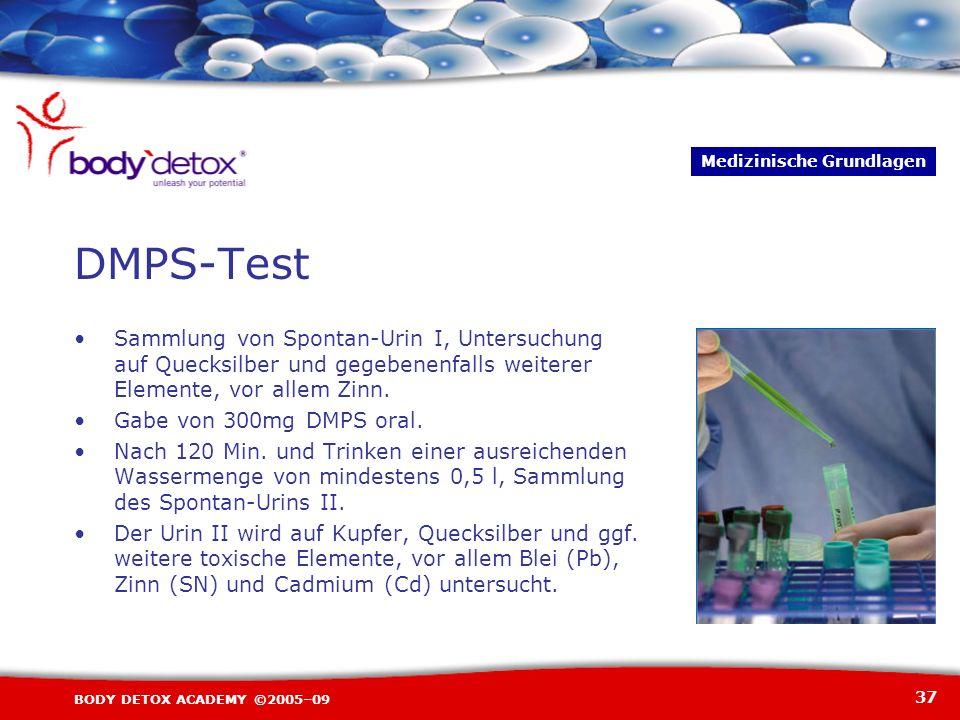 37 BODY DETOX ACADEMY ©2005–09 DMPS-Test Sammlung von Spontan-Urin I, Untersuchung auf Quecksilber und gegebenenfalls weiterer Elemente, vor allem Zin