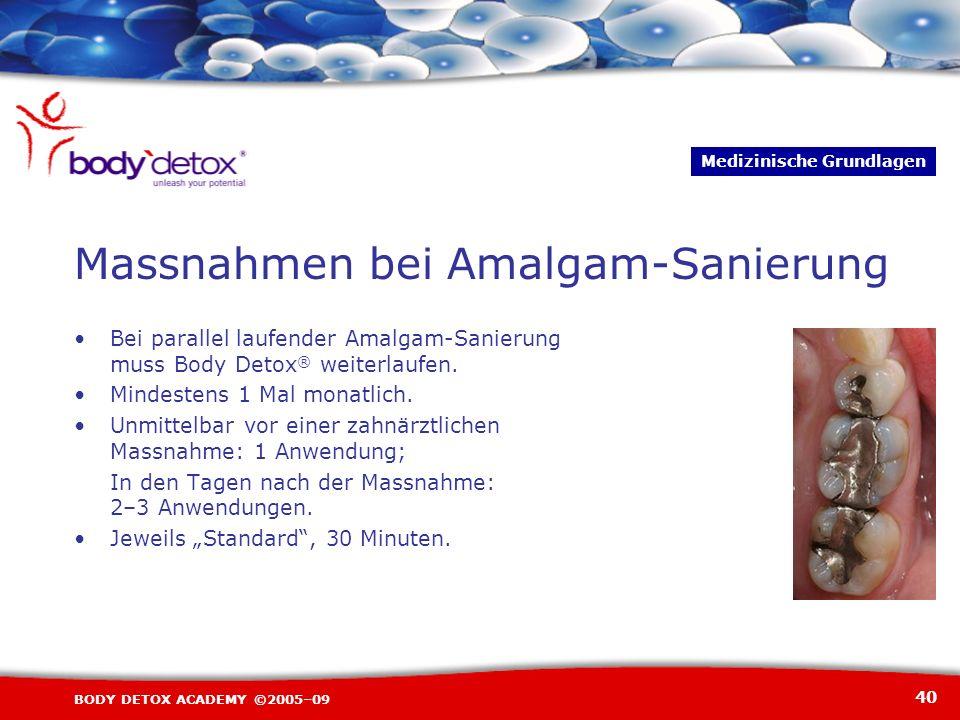 40 BODY DETOX ACADEMY ©2005–09 Massnahmen bei Amalgam-Sanierung Bei parallel laufender Amalgam-Sanierung muss Body Detox ® weiterlaufen. Mindestens 1