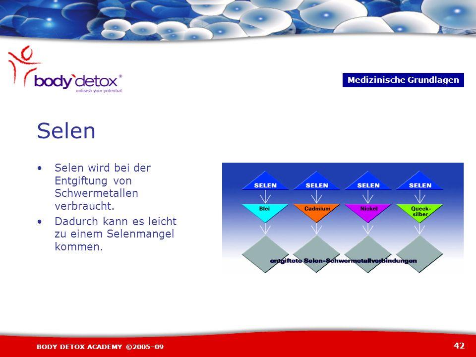 42 BODY DETOX ACADEMY ©2005–09 Selen wird bei der Entgiftung von Schwermetallen verbraucht. Dadurch kann es leicht zu einem Selenmangel kommen. Medizi