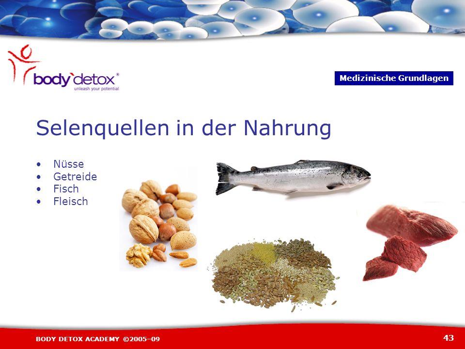 43 BODY DETOX ACADEMY ©2005–09 Nüsse Getreide Fisch Fleisch Selenquellen in der Nahrung Medizinische Grundlagen
