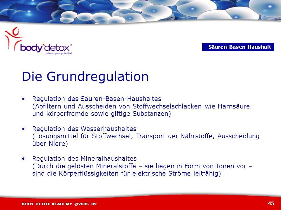 45 BODY DETOX ACADEMY ©2005–09 Regulation des Säuren-Basen-Haushaltes (Abfiltern und Ausscheiden von Stoffwechselschlacken wie Harnsäure und körperfre