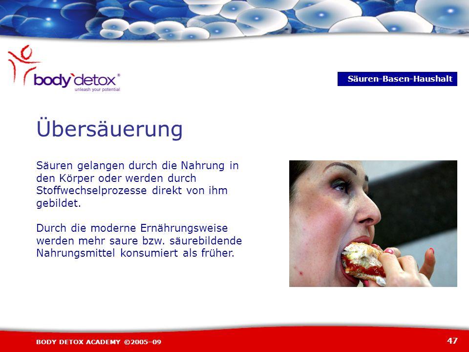 47 BODY DETOX ACADEMY ©2005–09 Übersäuerung S Säuren gelangen durch die Nahrung in den Körper oder werden durch Stoffwechselprozesse direkt von ihm ge