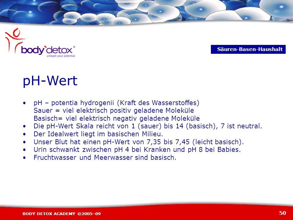 50 BODY DETOX ACADEMY ©2005–09 pH – potentia hydrogenii (Kraft des Wasserstoffes) Sauer = viel elektrisch positiv geladene Moleküle Basisch= viel elek