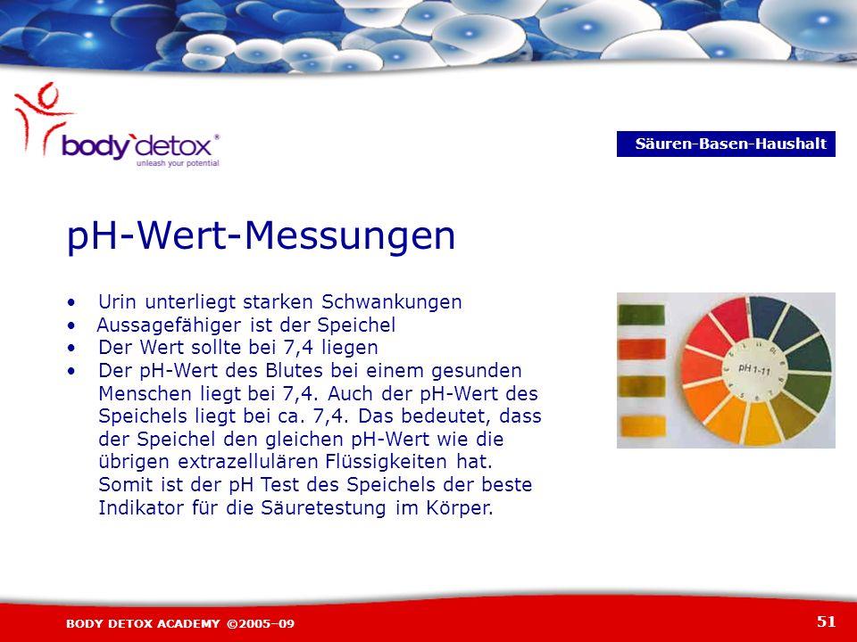 51 BODY DETOX ACADEMY ©2005–09 Urin unterliegt starken Schwankungen Aussagefähiger ist der Speichel Der Wert sollte bei 7,4 liegen Der pH Wert des Blu