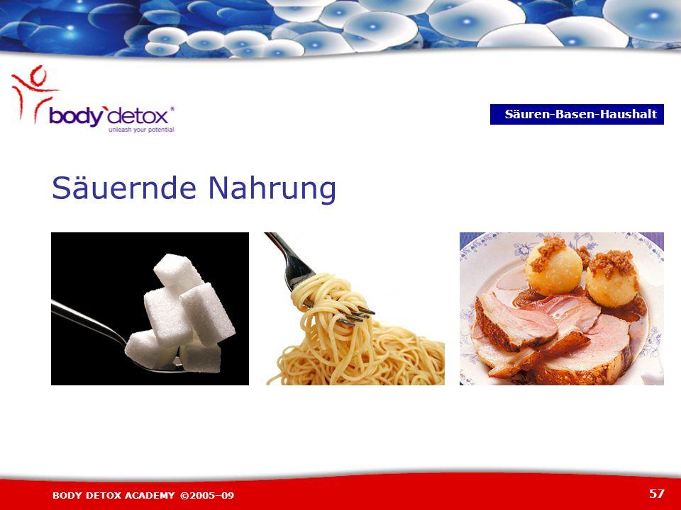 57 BODY DETOX ACADEMY ©2005–09 Säuernde Nahrung Säuren-Basen-Haushalt