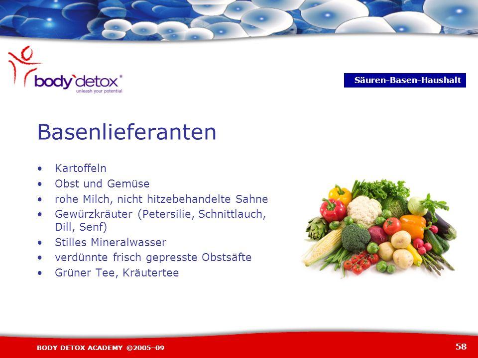 58 BODY DETOX ACADEMY ©2005–09 Basenlieferanten Kartoffeln Obst und Gemüse rohe Milch, nicht hitzebehandelte Sahne Gewürzkräuter (Petersilie, Schnittl