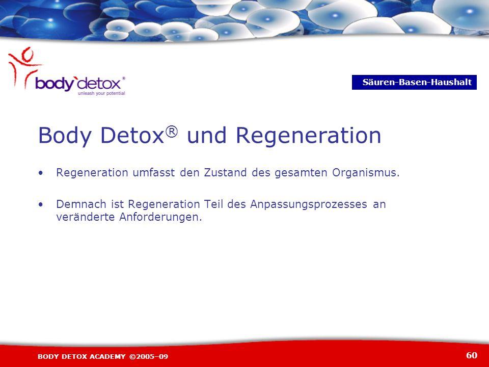 60 BODY DETOX ACADEMY ©2005–09 Body Detox ® und Regeneration Regeneration umfasst den Zustand des gesamten Organismus. Demnach ist Regeneration Teil d
