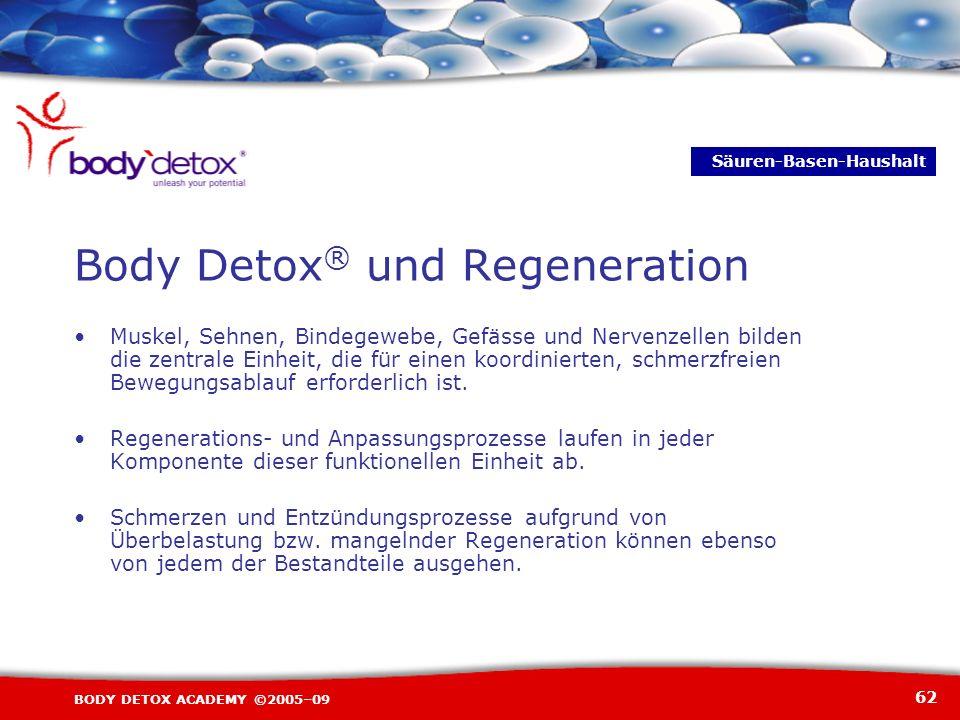 62 BODY DETOX ACADEMY ©2005–09 Muskel, Sehnen, Bindegewebe, Gefässe und Nervenzellen bilden die zentrale Einheit, die für einen koordinierten, schmerz