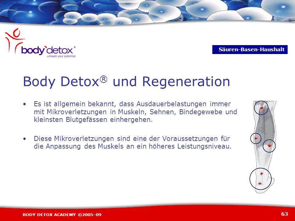 63 BODY DETOX ACADEMY ©2005–09 Es ist allgemein bekannt, dass Ausdauerbelastungen immer mit Mikroverletzungen in Muskeln, Sehnen, Bindegewebe und klei