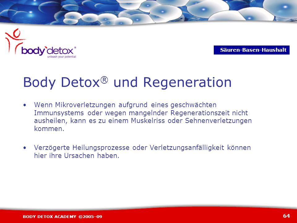 64 BODY DETOX ACADEMY ©2005–09 Wenn Mikroverletzungen aufgrund eines geschwächten Immunsystems oder wegen mangelnder Regenerationszeit nicht ausheilen