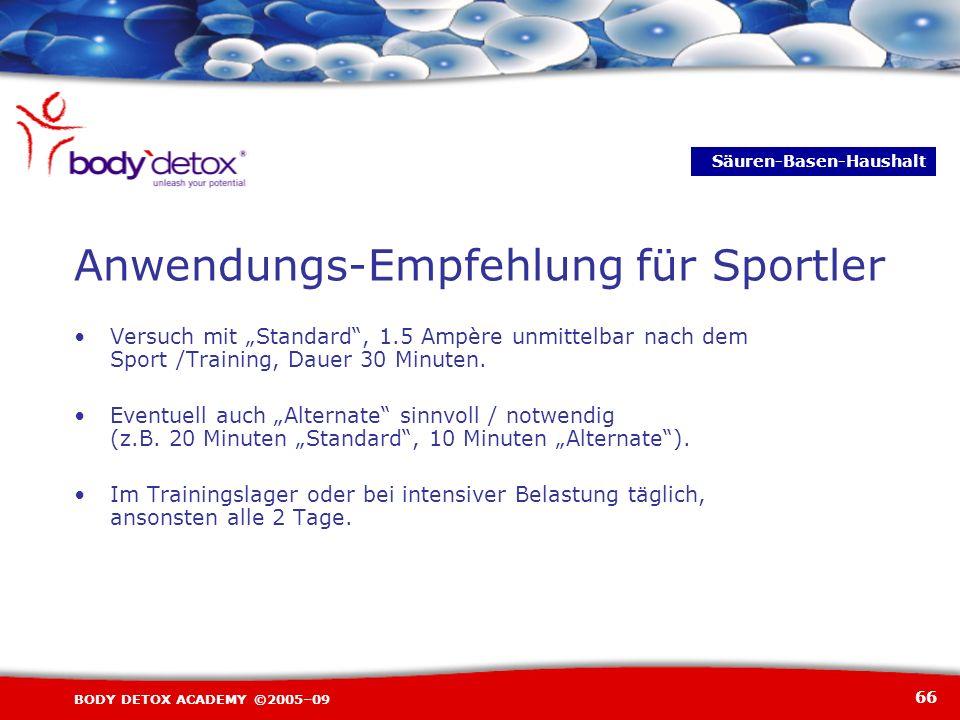 66 BODY DETOX ACADEMY ©2005–09 Anwendungs-Empfehlung für Sportler Versuch mit Standard, 1.5 Ampère unmittelbar nach dem Sport /Training, Dauer 30 Minu
