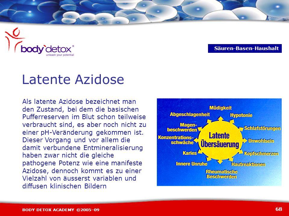 68 BODY DETOX ACADEMY ©2005–09 Latente Azidose Säuren-Basen-Haushalt Als latente Azidose bezeichnet man den Zustand, bei dem die basischen Pufferreser