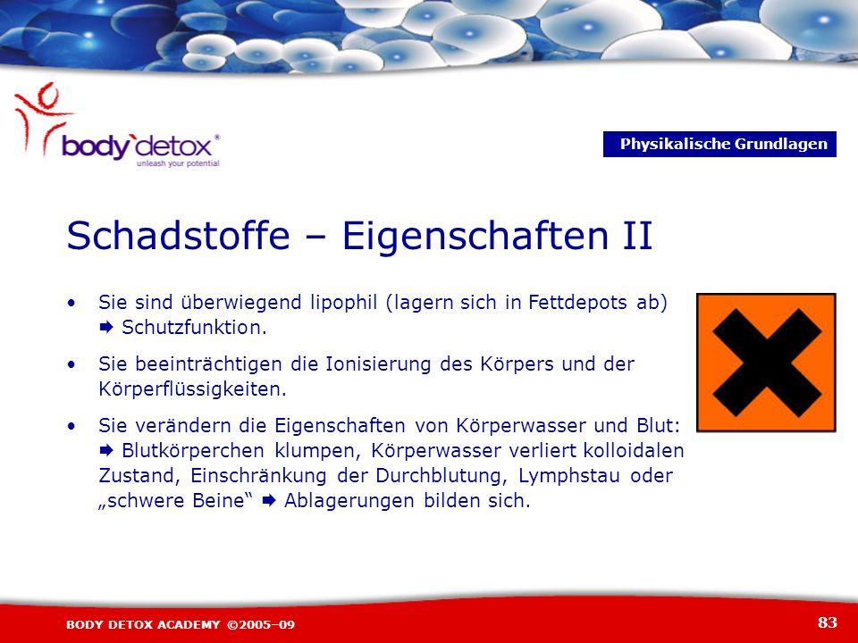83 BODY DETOX ACADEMY ©2005–09 Sie sind überwiegend lipophil (lagern sich in Fettdepots ab) Schutzfunktion. Sie beeinträchtigen die Ionisierung des Kö