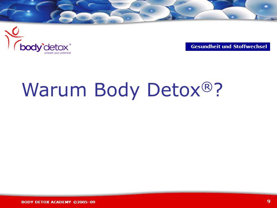 9 BODY DETOX ACADEMY ©2005–09 Warum Body Detox ® ? Gesundheit und Stoffwechsel