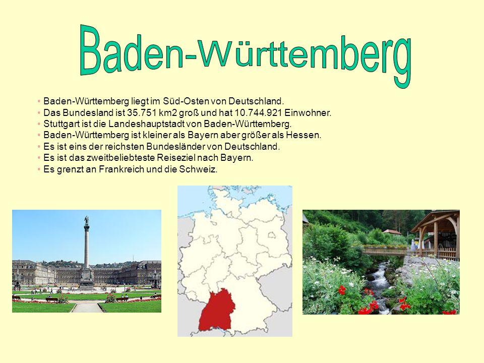 Baden-Württemberg liegt im Süd-Osten von Deutschland. Das Bundesland ist 35.751 km2 groß und hat 10.744.921 Einwohner. Stuttgart ist die Landeshauptst