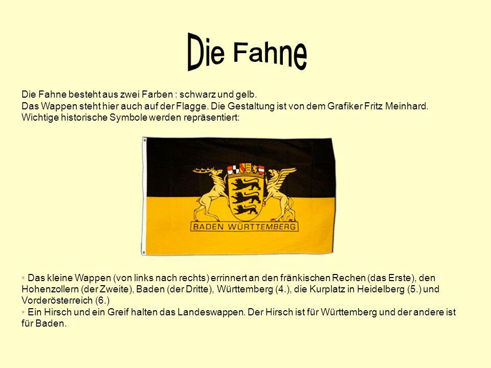 Die Fahne besteht aus zwei Farben : schwarz und gelb. Das Wappen steht hier auch auf der Flagge. Die Gestaltung ist von dem Grafiker Fritz Meinhard. W