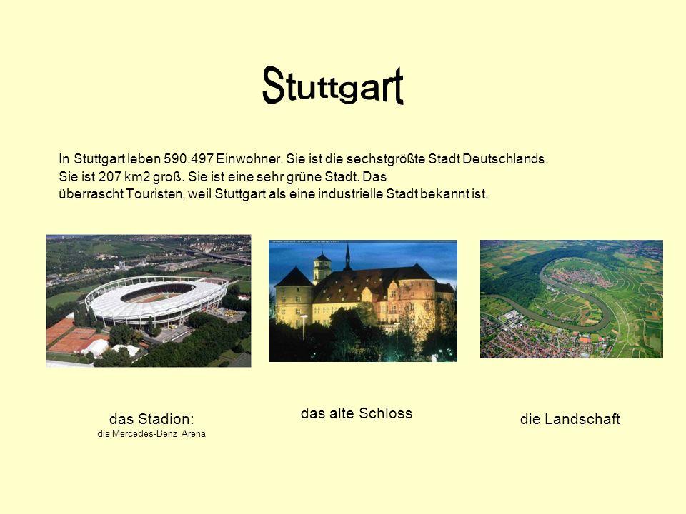 In Stuttgart leben 590.497 Einwohner. Sie ist die sechstgrößte Stadt Deutschlands. Sie ist 207 km2 groß. Sie ist eine sehr grüne Stadt. Das überrascht