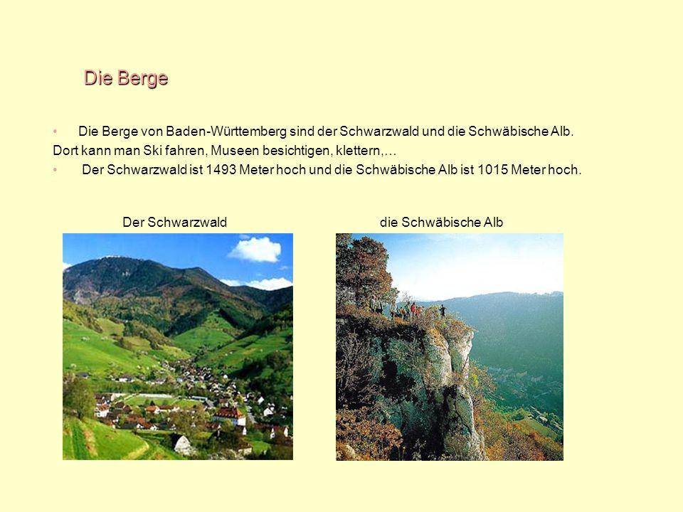 Die Berge Die Berge von Baden-Württemberg sind der Schwarzwald und die Schwäbische Alb. Dort kann man Ski fahren, Museen besichtigen, klettern,… Der S