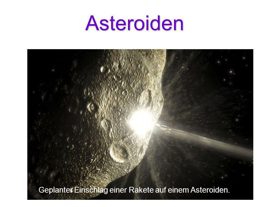 Asteroiden Geplanter Einschlag einer Rakete auf einem Asteroiden.