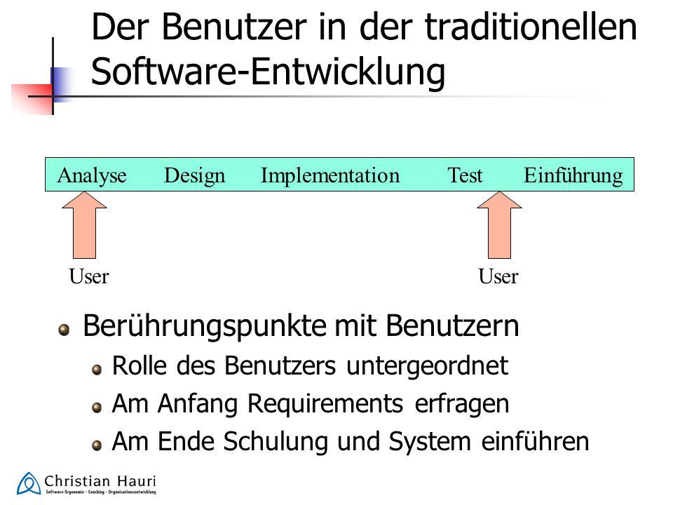 Der Benutzer in der traditionellen Software-Entwicklung Berührungspunkte mit Benutzern Rolle des Benutzers untergeordnet Am Anfang Requirements erfrag