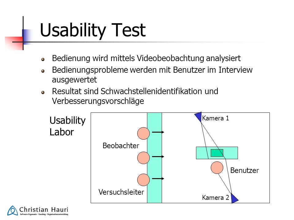 Usability Test Bedienung wird mittels Videobeobachtung analysiert Bedienungsprobleme werden mit Benutzer im Interview ausgewertet Resultat sind Schwac